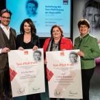 Florian Pronold, Iris Berben, Ursula Kirmeier und Micky Wenngatz auf der Bühne im Einstein Kultur in München